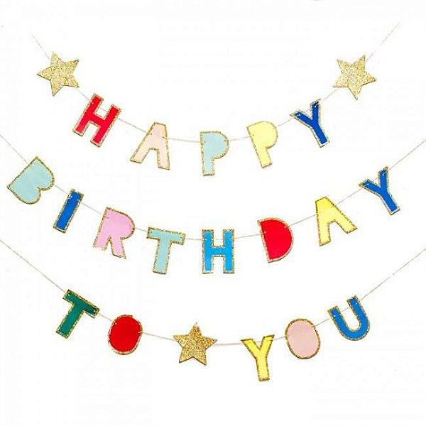 Guirlanda / bandeirola com glitter - Happy Birthday To You (22 peças + fita)