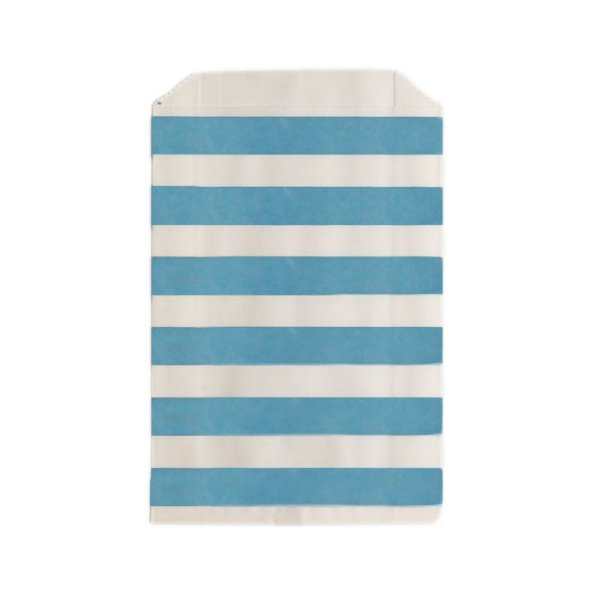 Saquinho de papel listras - Azul 12x18 cm (12 unidades)
