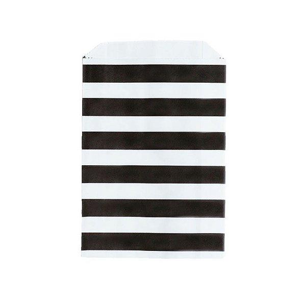 Saquinho de papel listras - Preto 12x18 cm (12 unidades)