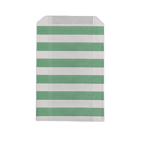 Saquinho de papel listras - Verde Claro 12x18 cm (12 unidades)
