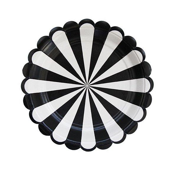 Prato de papel carrossel - Preto (8 unidades)
