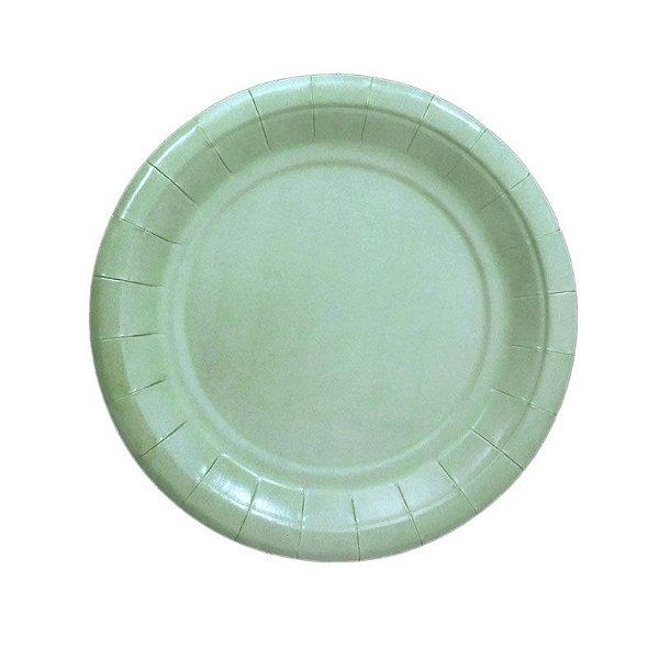 Pratinho de papel - Verde Água 19 cm (8 unidades)
