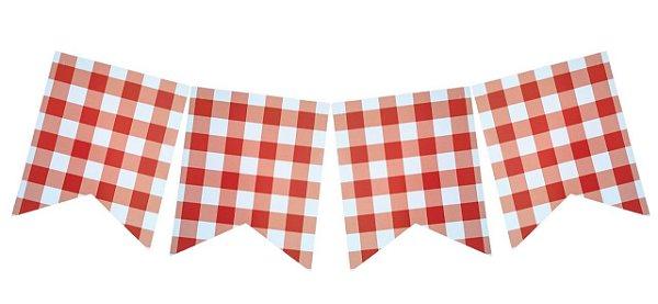 Bandeirola Vichy / Xadrez - Vermelho (12 peças + cordão)