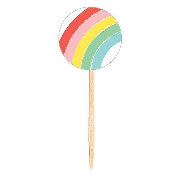Topper para doces / cupcake - Arco-Íris (10 unidades)