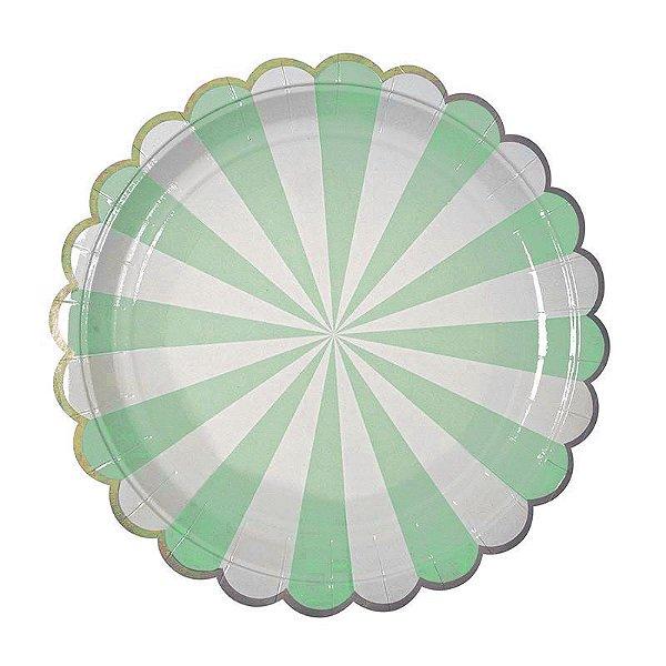 Prato de papel - Verde com borda dourada (23 cm - 10 unidades)