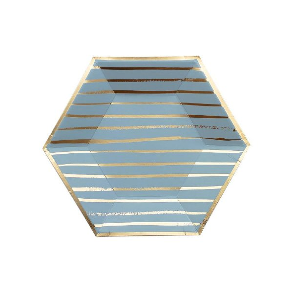 Prato de papel geométrico -  Azul e Dourado (23x20 cm - 8 unidades)