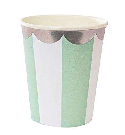 Copo de papel - Verde/Branco/Prata (10 unidades)