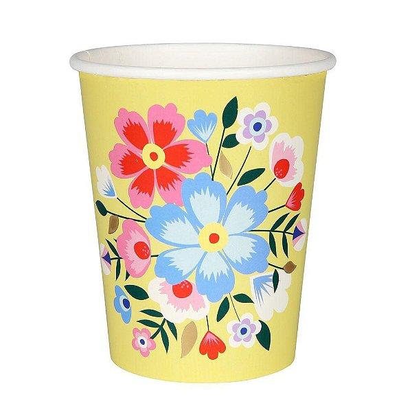Copo de papel amarelo - Floral Frida (8 unidades)