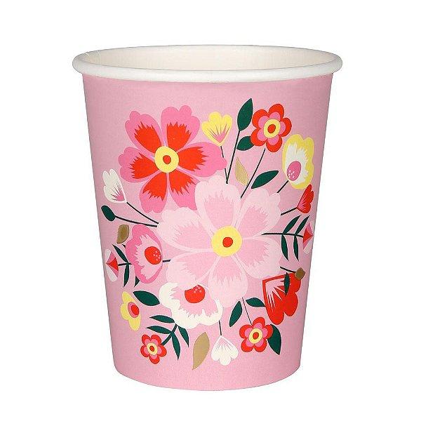 Copo de papel rosa - Floral Frida (8 unidades)
