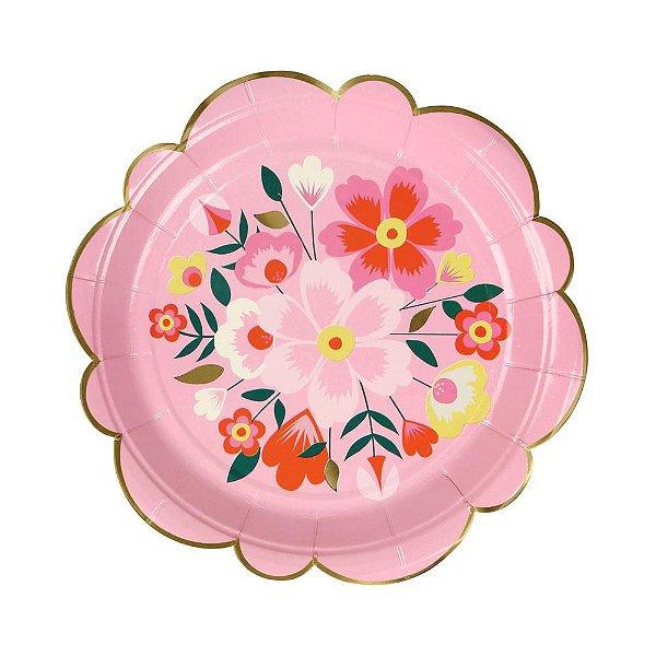 Prato de papel rosa - Flores Frida (18 cm - 8 unidades)