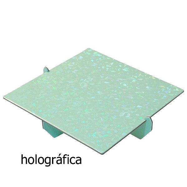 Bandeja Quadrada 20x20 Holográfica - Verde Candy (papelão desmontável)