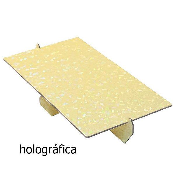Bandeja retangular 14x25 cm Holográfica - Amarelo Candy (papelão desmontável)