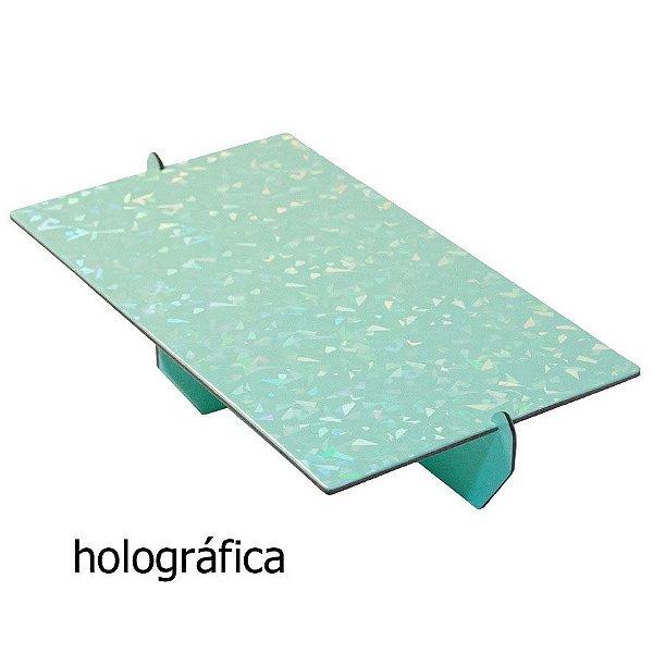 Bandeja retangular 14x25 cm Holográfica - Verde Candy (papelão desmontável)