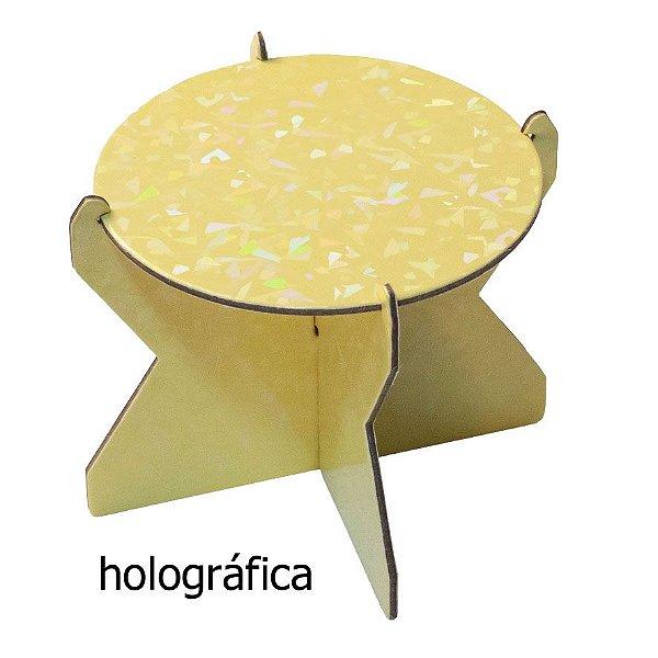 Mini Boleira 12 cm Holográfica - Amarelo Candy (papelão desmontável)