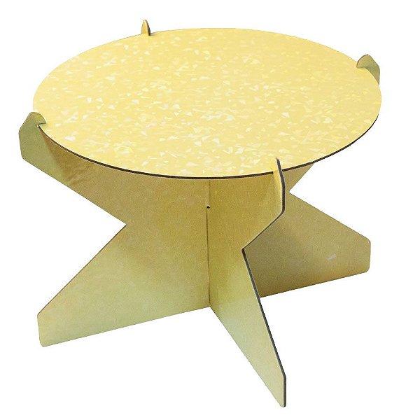 Boleira 20 cm Holográfica - Amarelo Candy (papelão desmontável)