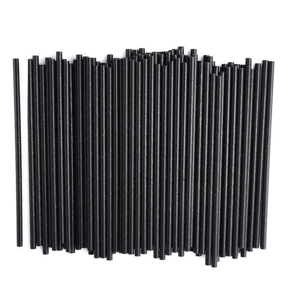 Canudo de papel liso - Preto (20 unidades)