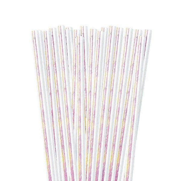 Canudo de papel furta cor Branco - 20 unidades
