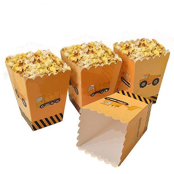 Caixinha de papel para pipoca - Festa Construção (12 cm altura - 6 unidades)