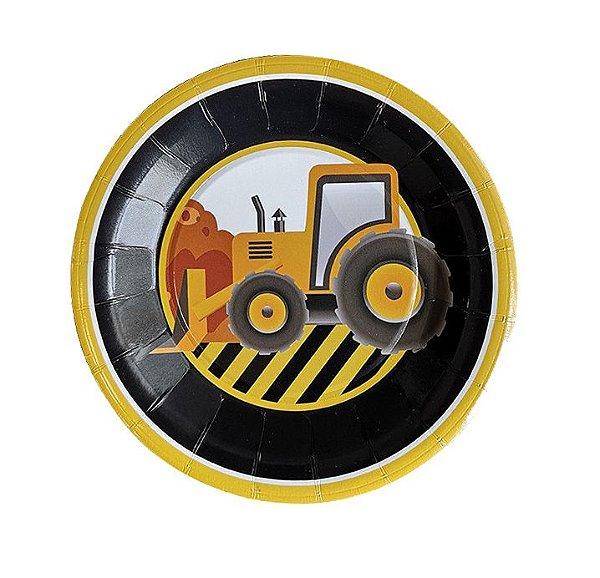 Pratinho festa Construção / Trator (18 cm - 6 unidades)