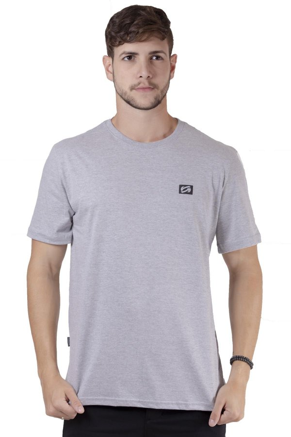 """Camiseta Manga Curta Básica Cinza Claro """"Coleção Indonésia"""""""
