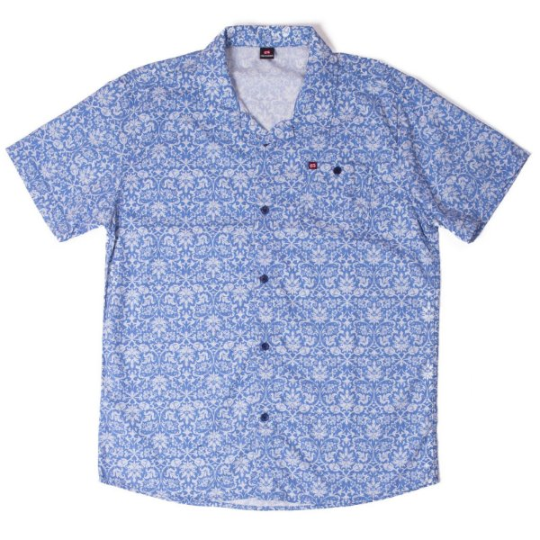 Camisa Manga Curta Azul Com Estampa Diferenciada