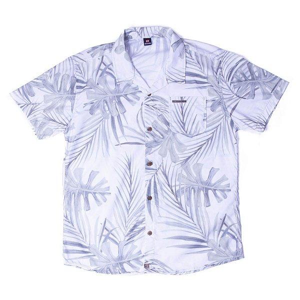 Camisa Manga Curta Com Botão De Madeira Com Estampa Diferenciada