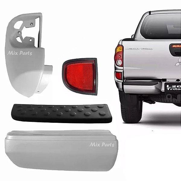 Kit Parachoque + Pisante + Ponteira + Refletor Traseiro Mitsubishi L200 Triton 2008 a 2016