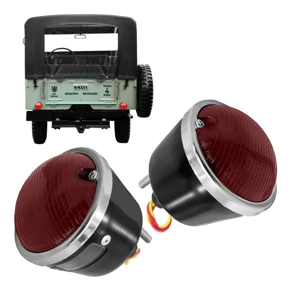 Par de Lanterna Traseira Aro Cromado Jeep Willys - de Metal