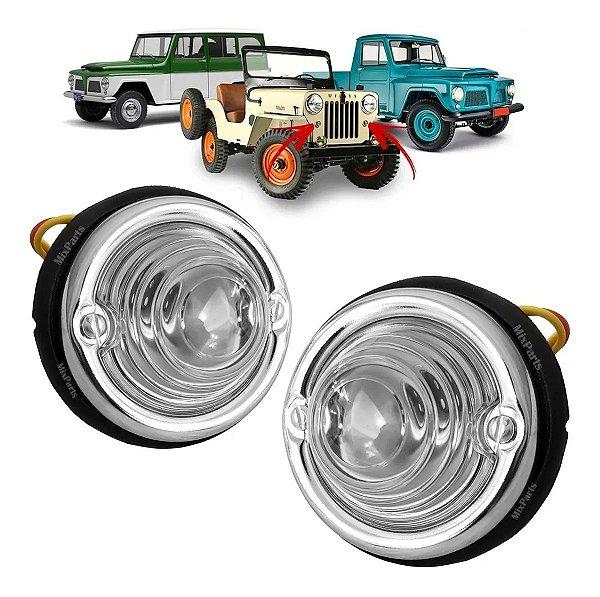 Par de Lanterna Pisca Dianteiro Jeep Willys / Ford Rural e F75 - 70mm