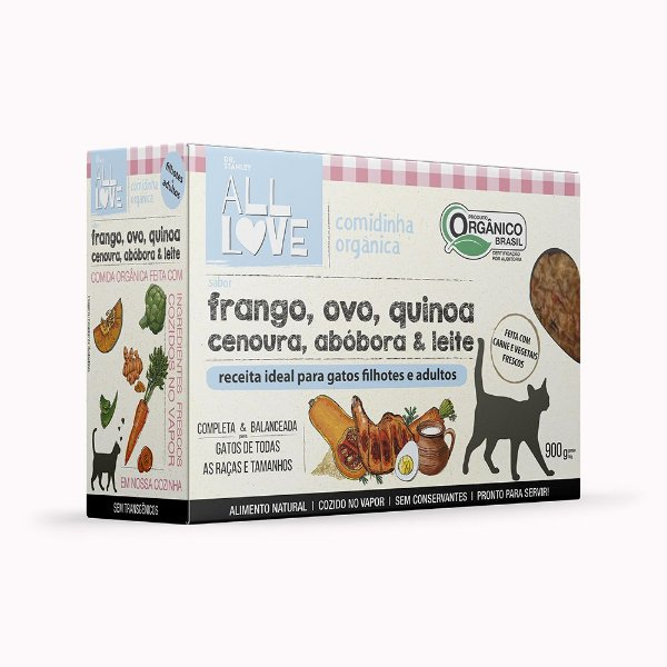 All Love   Comidinha Orgânica para gatos Filhotes e Adultos 900 g