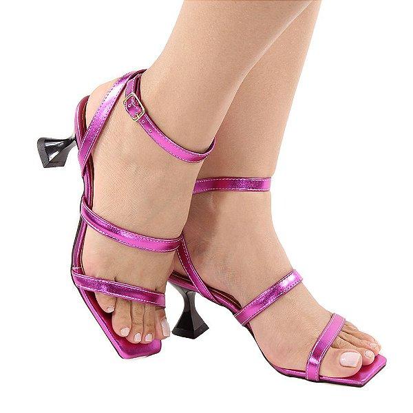 Sandália Zhaceci Salto Baixo Taça Tiras Pink