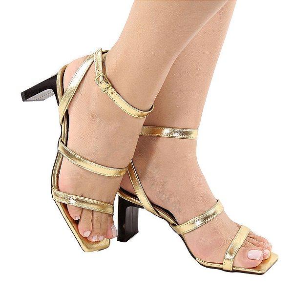 Sandália Zhaceci Salto Baixo Quadrado Tiras Dourado