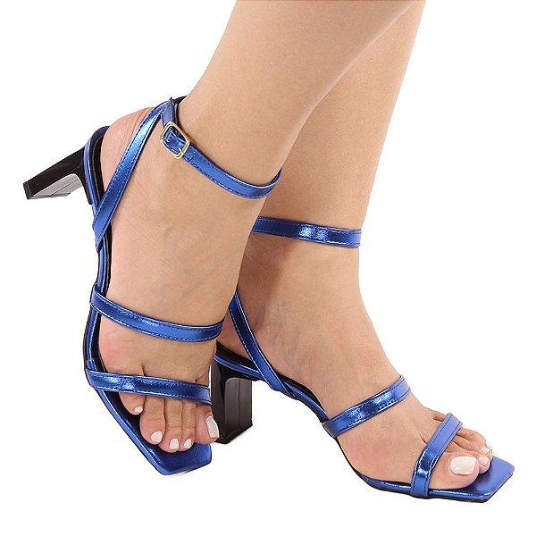 Sandália Zhaceci Salto Baixo Quadradrado Tiras Azul
