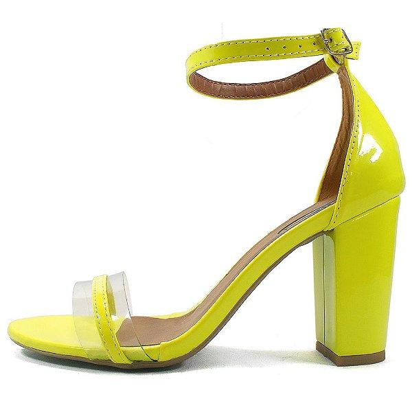 Sandália Zhaceci Salto Alto Neon Amarelo