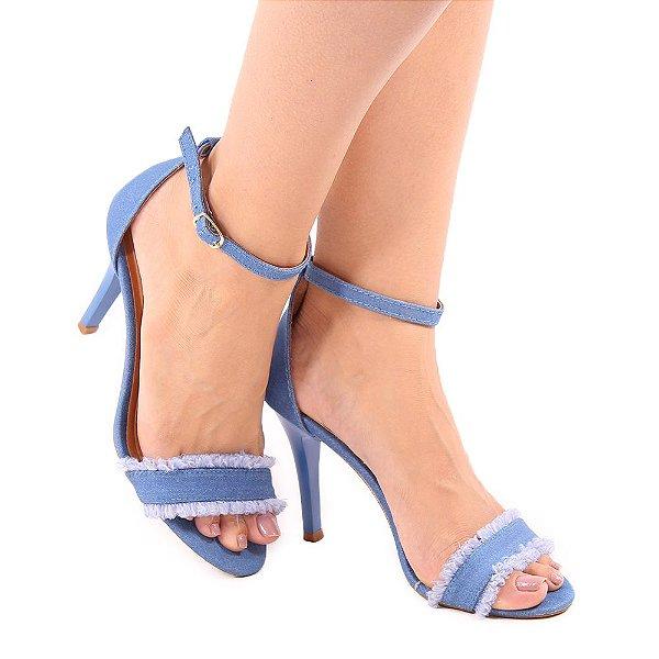 Sandália Zhaceci Salto Alto Jeans