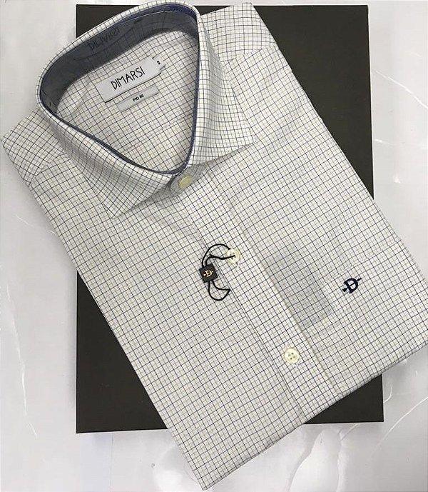 Camisa Dimarsi - Com Bolso - Manga Curta - Fio 80 - 100% Algodão - Ref. 8735 Xadrez Bege