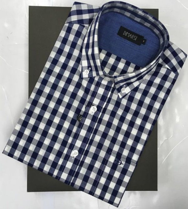 Camisa Dimarsi - Com Bolso - Manga Curta - 100% Algodão - Ref. 8763 Xadrez Azul
