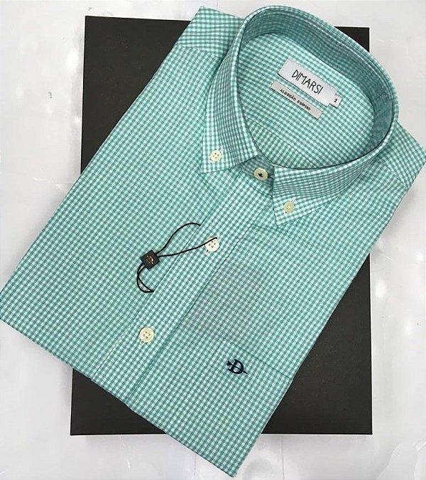 Camisa Dimarsi - Com Bolso - Manga Curta - Algodão Egípcio - Ref. 8835 Xadrez Verde