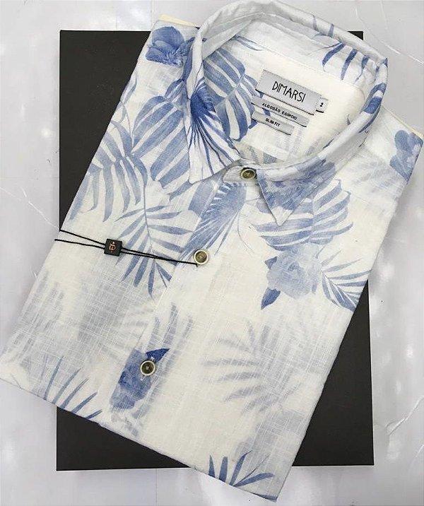 Camisa Floral Dimarsi SLIM FIT - Sem Bolso - Manga Curta - Algodão Egípcio - Ref. 8811 Azul