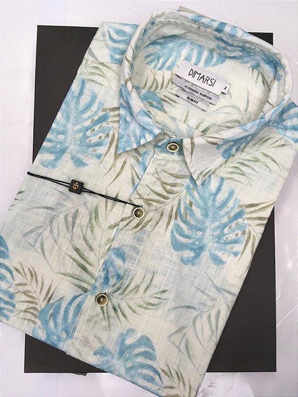 Camisa Floral Dimarsi SLIM FIT - Sem Bolso - Manga Curta - Algodão Egípcio - Ref. 8817 Azul