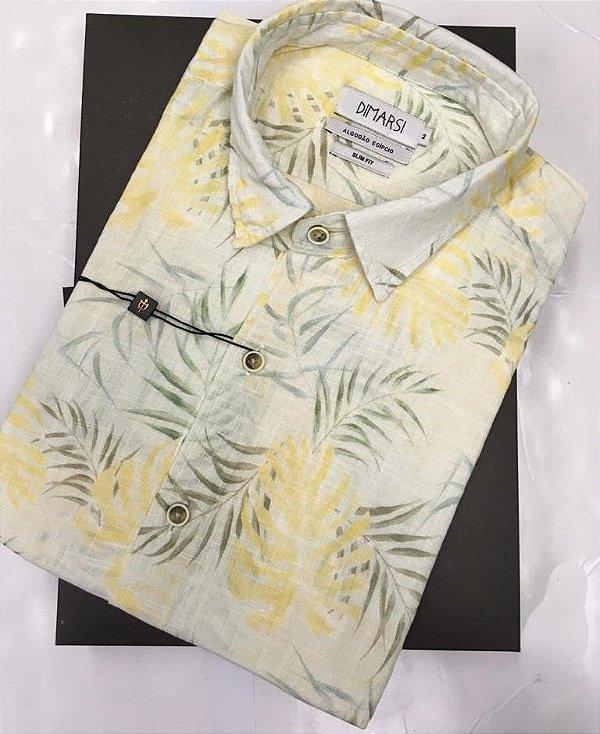 Camisa Floral Dimarsi SLIM FIT - Sem Bolso - Manga Curta - Algodão Egípcio - Ref. 8817 Amarela