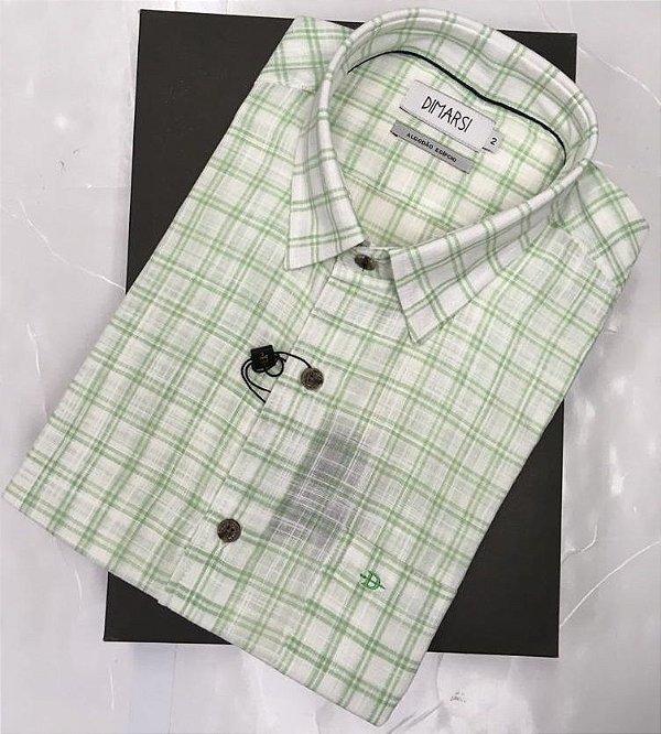 Camisa Dimarsi - Com Bolso - Manga Curta - Algodão Egípcio - Ref. 8823 Xadrez Verde