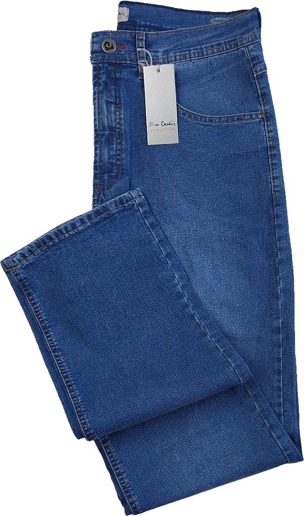 Calça Jeans Masculina Pierre Cardin Reta (Cintura Alta) - Ref. 467P978 - Algodão / Poliester / Elastano (Jeans Fino e Macio)
