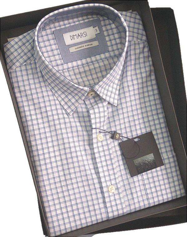 Camisa Dimarsi - Com Bolso - Manga Curta - Algodão Egípcio - Ref. 9023 Xadrez Azul