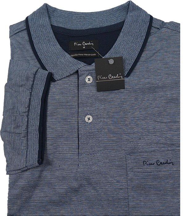 Camisa Polo Pierre Cardin Com Bolso - Manga Curta Com Punho - Algodão Fio de Escócia - Ref 15698 Azul