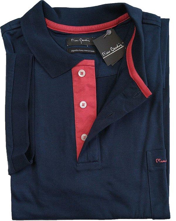 Camisa Polo Pierre Cardin (PLUS SIZE) Com Bolso - Manga Curta Com Punho - Fio de Escócia - 100% Algodão - Ref. 15686 Marinho