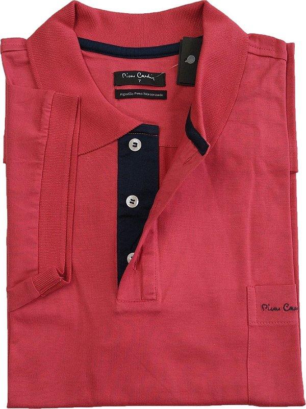 Camisa Polo Pierre Cardin (PLUS SIZE) Com Bolso - Manga Curta Com Punho - Fio de Escócia - 100% Algodão - Ref. 15686 Vermelha