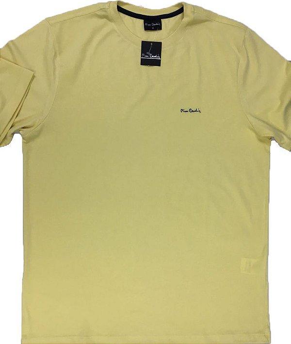 Camiseta Gola Careca Pierre Cardin - 100% Algodão - Ref 75010 Amarela