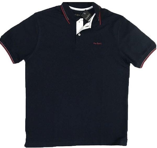 Camisa Polo Pierre Cardin (Sem Bolso) - Manga Curta Com Punho - Malha Piquet - 100% Algodão - Ref 15702 Marinho