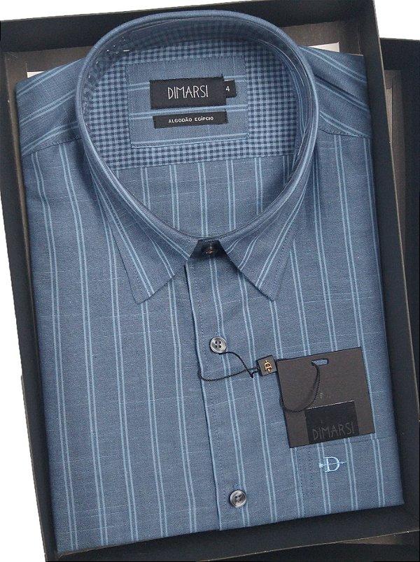 Camisa Dimarsi - Com Bolso - Manga Curta - Algodão Egípcio - Ref. 9017 Azul Listrada